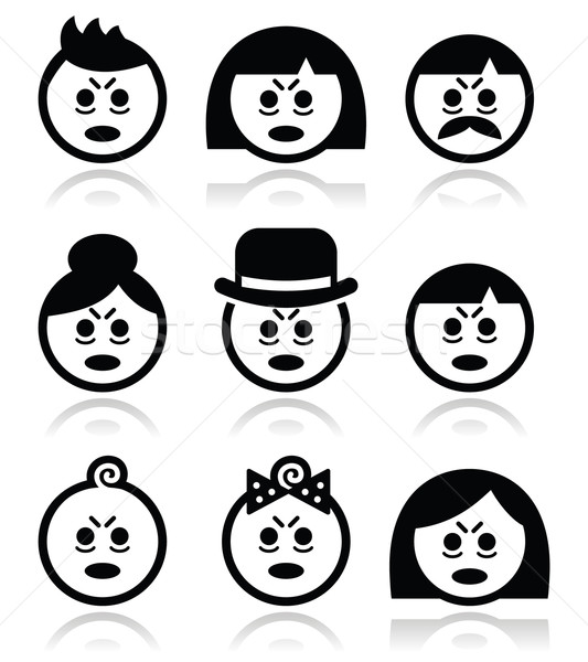 Tired or sick people faces icons set Stock photo © RedKoala