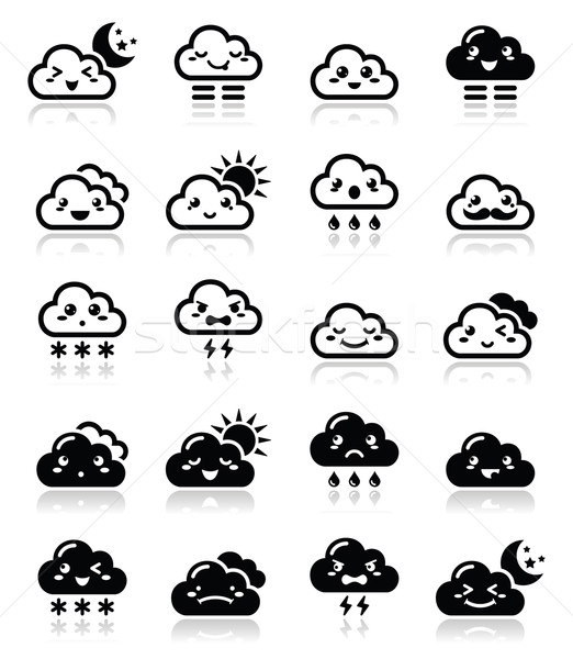 Cute cloud - Kawaii, Manga black icons with different expressions - happy, sad, angry  Stock photo © RedKoala