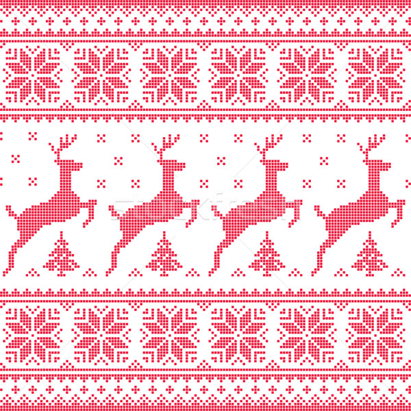 Winter, Christmas red seamless pixelated pattern with deer with trees Stock photo © RedKoala