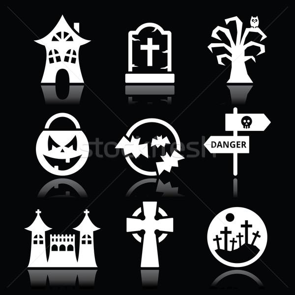 Halloween vector white icons set on black Stock photo © RedKoala
