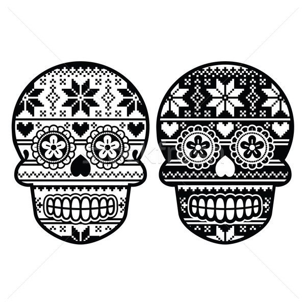 Mexican black sugar skull with winter Nordic pattern  Stock photo © RedKoala