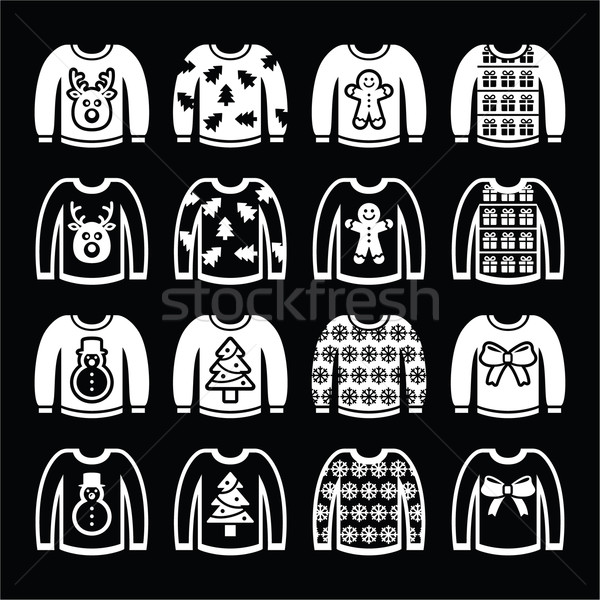 Stock photo: Ugly Christmas sweater on jumper white icons set