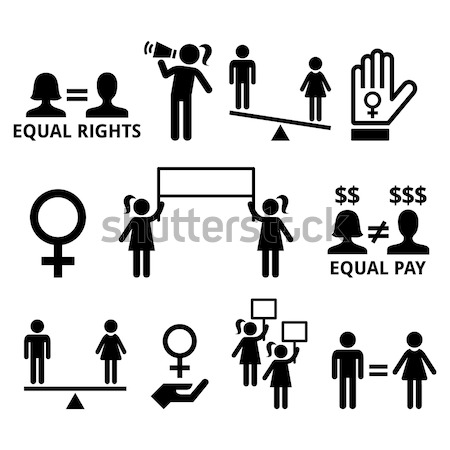 Stop discrimination of men, and women icons set    Stock photo © RedKoala