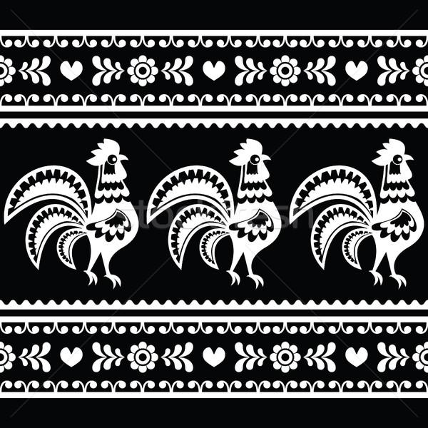 Seamless Polish monochrome folk art pattern with roosters Stock photo © RedKoala