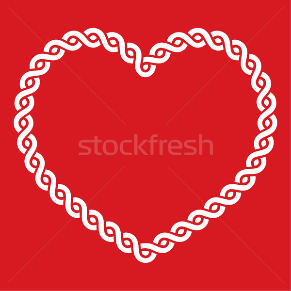 Celtic nudo patrón rojo forma de corazón amor Foto stock © RedKoala