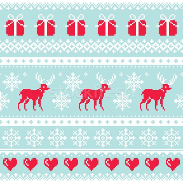 トナカイ パターン クリスマス シームレス デザイン 冬 ストックフォト © RedKoala