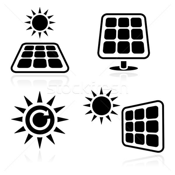 Solar panels icons Stock photo © RedKoala
