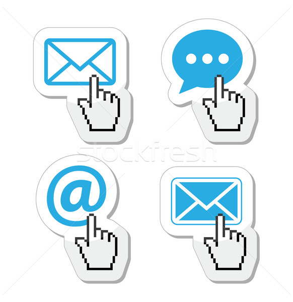 Contact - envelope, email, speech bubble  with cursor hand icons Stock photo © RedKoala