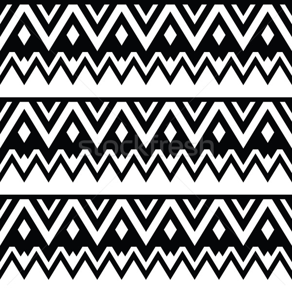Aztec seamless pattern, tribal black and white background Stock photo © RedKoala