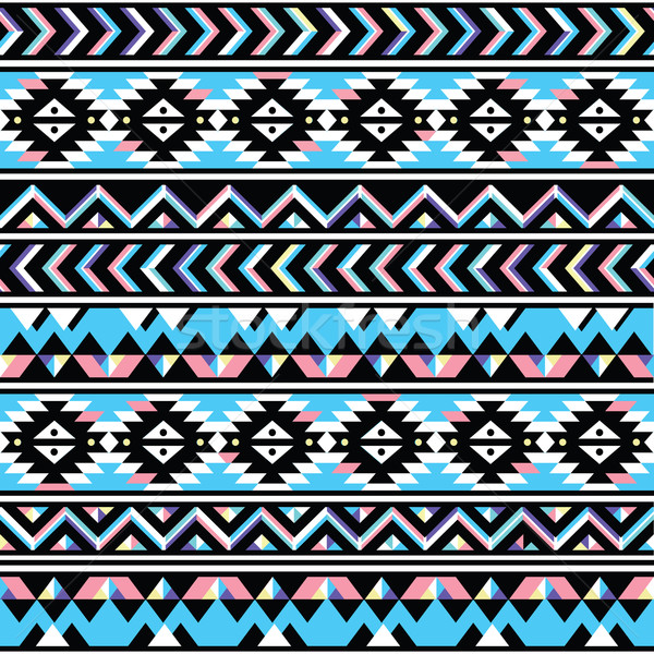 Tribal aztec seamless blue and pink pattern Stock photo © RedKoala