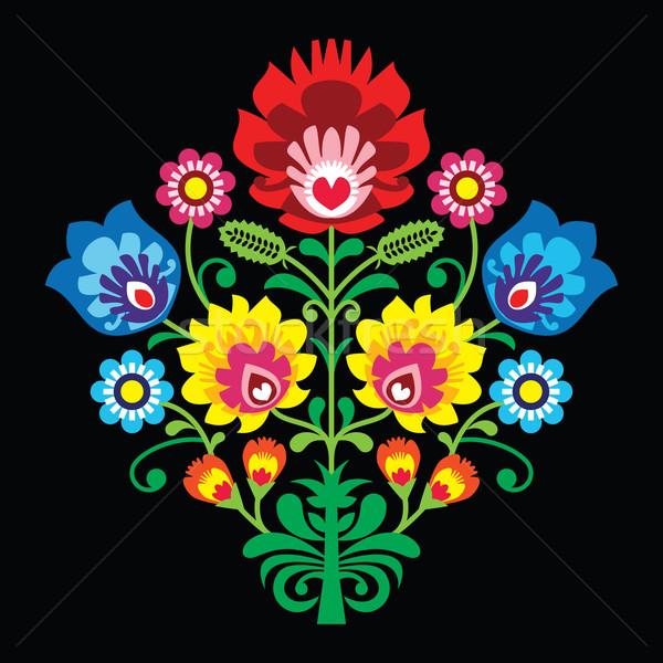 Polish folk embroidery with flowers - traditional pattern on black background  Stock photo © RedKoala