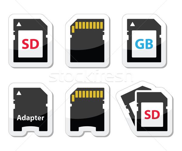 SD, memory card, adapter icons set  Stock photo © RedKoala