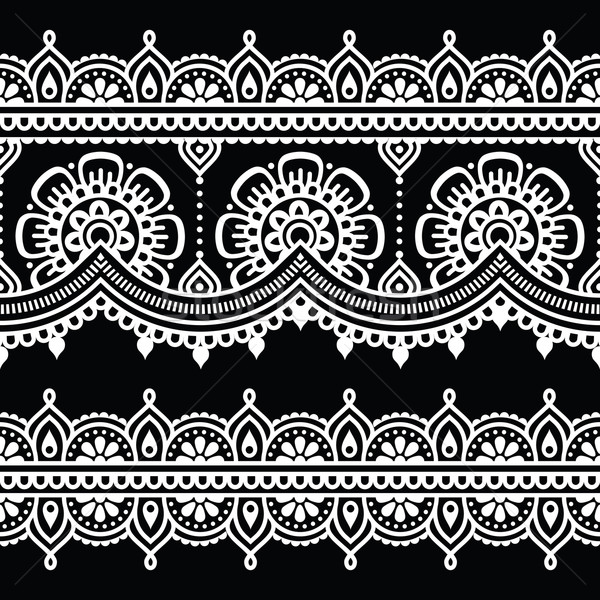 Mehndi, Indian Henna white tattoo seamless pattern Stock photo © RedKoala