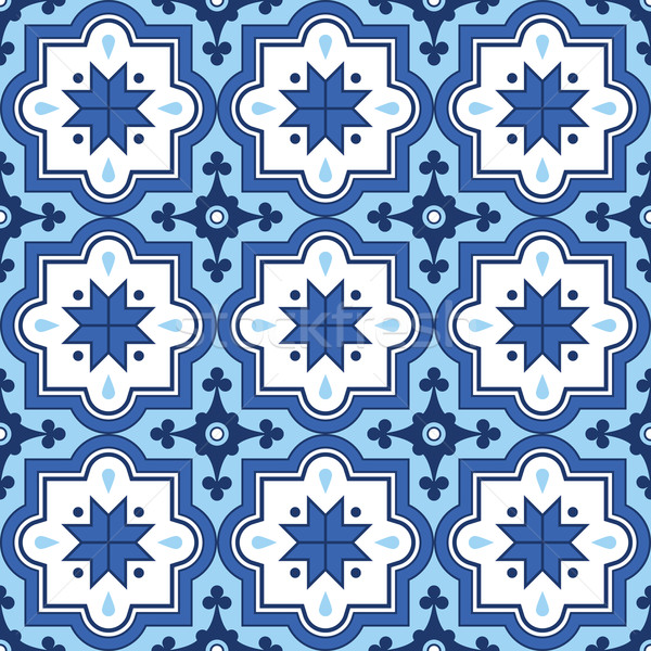 Arabic pattern, Moroccan blue tiles design  Stock photo © RedKoala