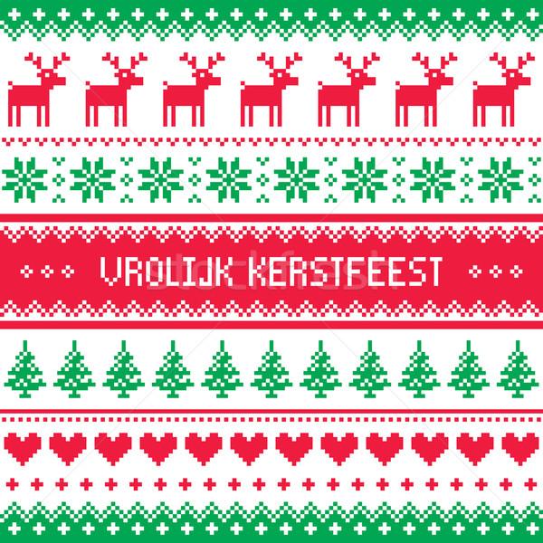 Merry Christmas In Dutch.Vrolijk Kerstfeest Greetings Card Merry Christmas In Dutch