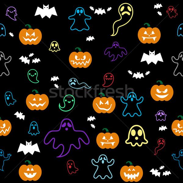 Seamless Halloween ghost, bats, pumpkins pattern on black Stock photo © RedKoala