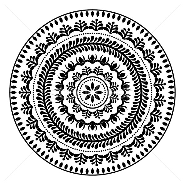 Folk round pattern, hippie black mandala, boho style ornament  Stock photo © RedKoala