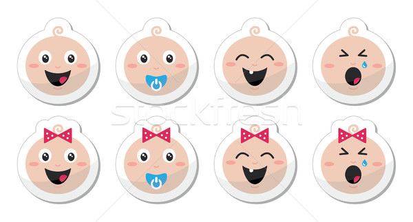 Baby boy, baby girl face - crying, with soother, smile icons Stock photo © RedKoala