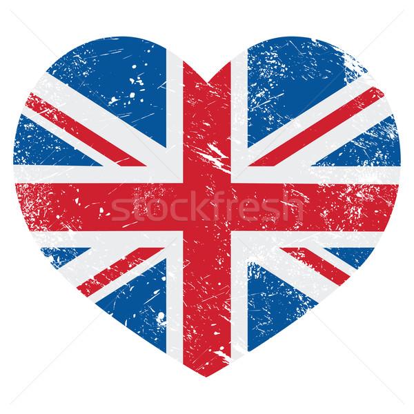 Stock fotó: Nagy-Britannia · retro · szív · zászló · vektor · brit