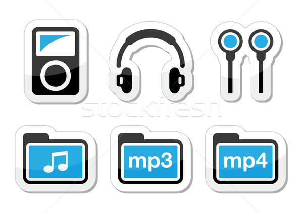 Reproductor mp3 vector dispositivo azul negro Foto stock © RedKoala