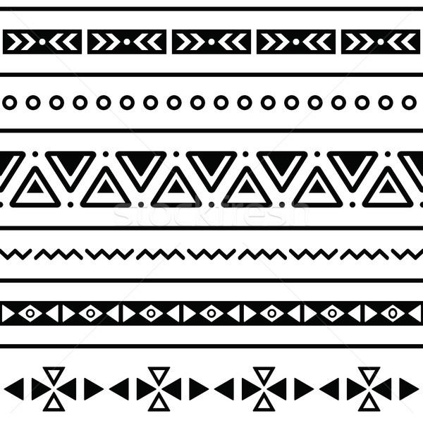 Aztec seamless pattern, tribal black and white background Stock photo © RedKoala