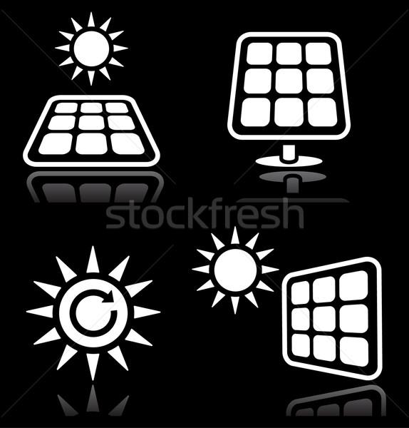 Zonnepanelen zonne-energie witte zwarte vector Stockfoto © RedKoala