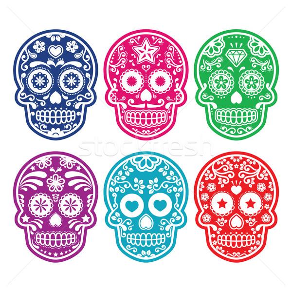 メキシコ料理 砂糖 頭蓋骨 カラフル ベクトル ストックフォト © RedKoala