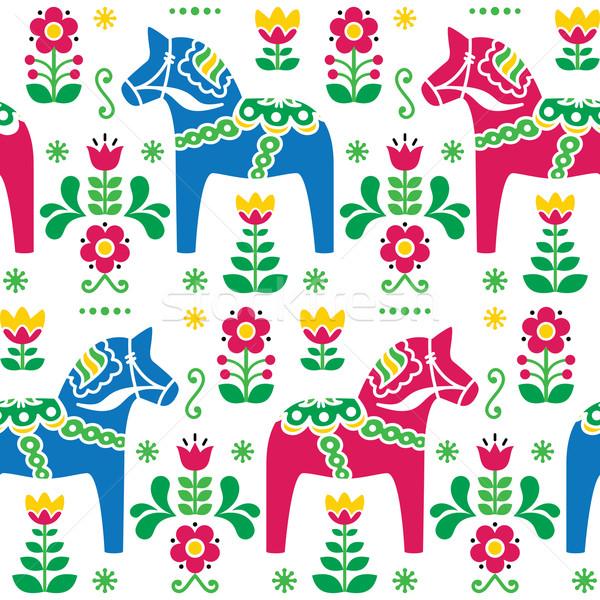 Swedish folk art Dala or Daleclarian horse seamless pattern  Stock photo © RedKoala