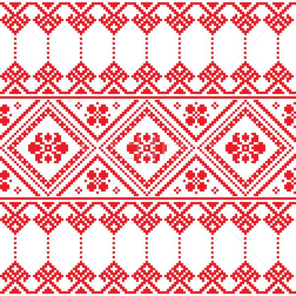 Ukrainian folk art floral embroidery pattern or print   Stock photo © RedKoala