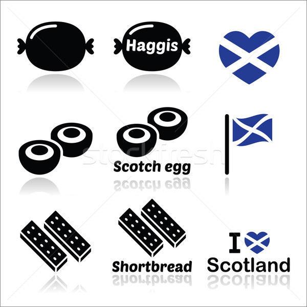 Scottish food - Haggis, Scotch egg, Shortbread icons set Stock photo © RedKoala