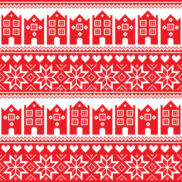Nordic, winter seamless red pattern with houses Stock photo © RedKoala