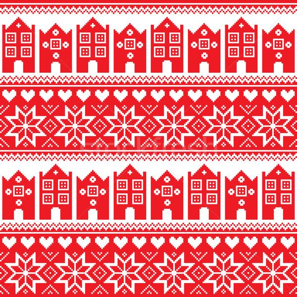 északi tél végtelenített piros minta házak Stock fotó © RedKoala