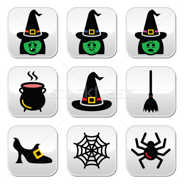 Witch Halloween vector buttons set Stock photo © RedKoala