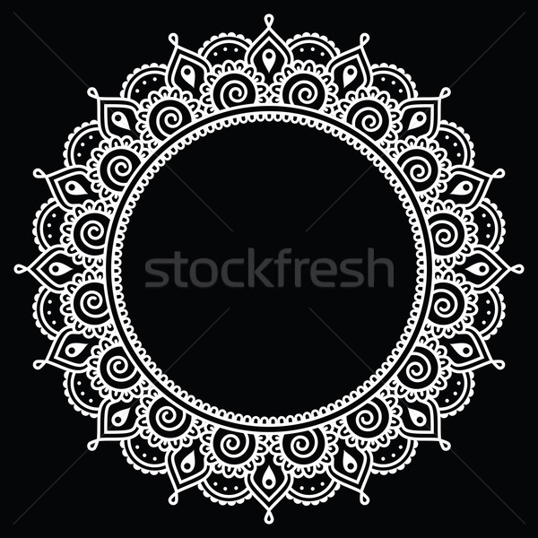 Mehndi, Indian Henna tattoo round white pattern on black Stock photo © RedKoala