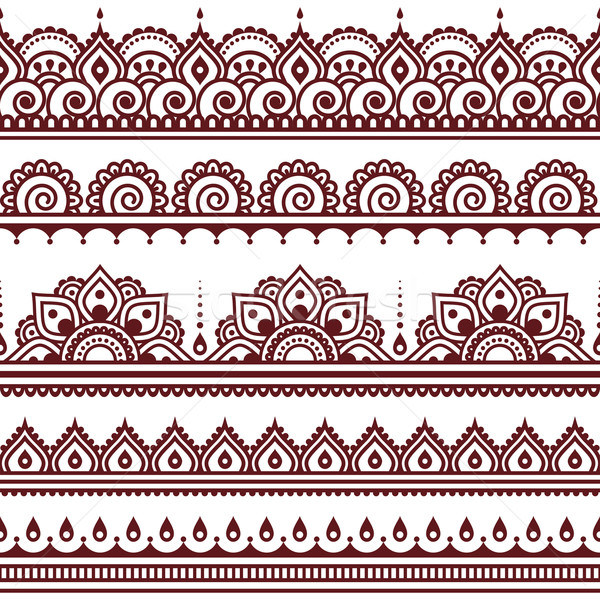 Mehndi, Indian Henna tattoo brown seamless pattern, design elements Stock photo © RedKoala