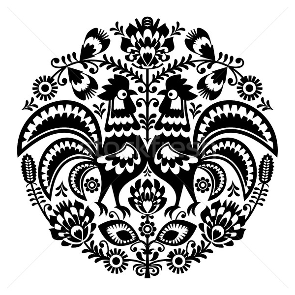 Polish folk art floral round embroidery with roosters, traditional pattern - Wycinanki Lowickie  Stock photo © RedKoala