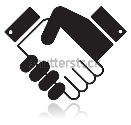 Stock photo: Handshake glossy black icon