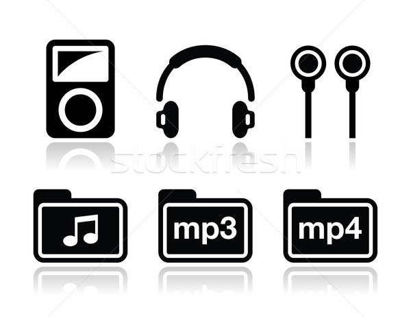 Reproductor mp3 vector dispositivo negro iconos Foto stock © RedKoala