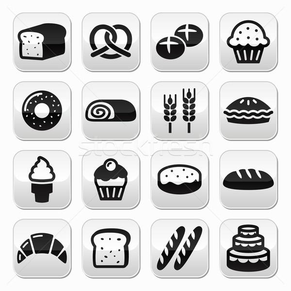 хлебобулочные Кнопки набор хлеб пончик Сток-фото © RedKoala