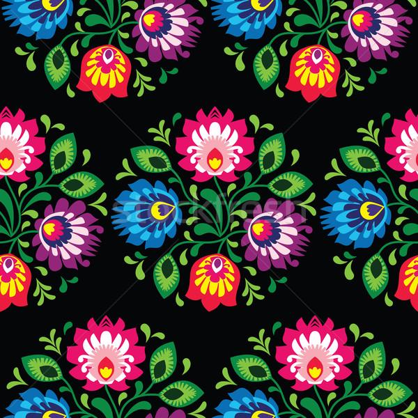 Seamless traditional floral polish pattern - ethnic background Stock photo © RedKoala