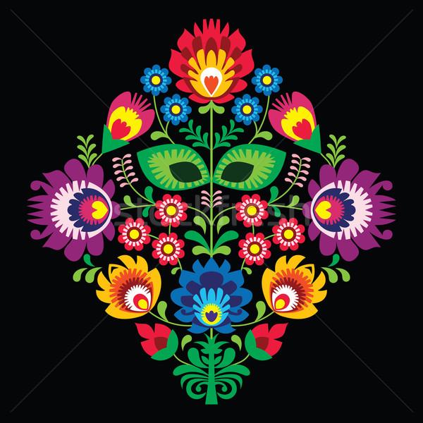 Folk embroidery with flowers - traditional polish pattern on black background Stock photo © RedKoala