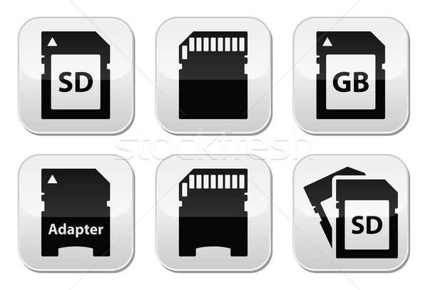 Emlék kártya gombok szett vektor fekete Stock fotó © RedKoala