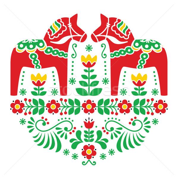 Swedish Dala or Daleclarian horse floral folk pattern  Stock photo © RedKoala
