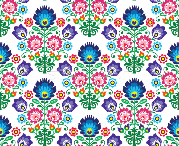 Seamless Polish, Slavic folk art floral pattern - wzory lowickie, wycinanka Stock photo © RedKoala