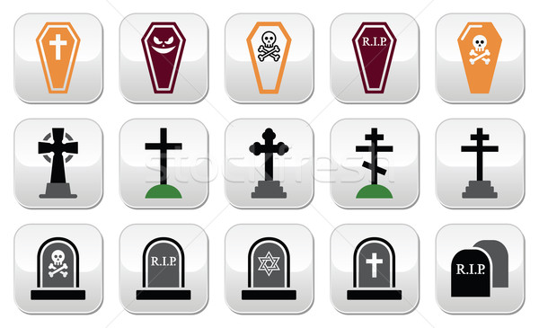 Halloween, graveyard icons set - coffin, cross, grave  Stock photo © RedKoala