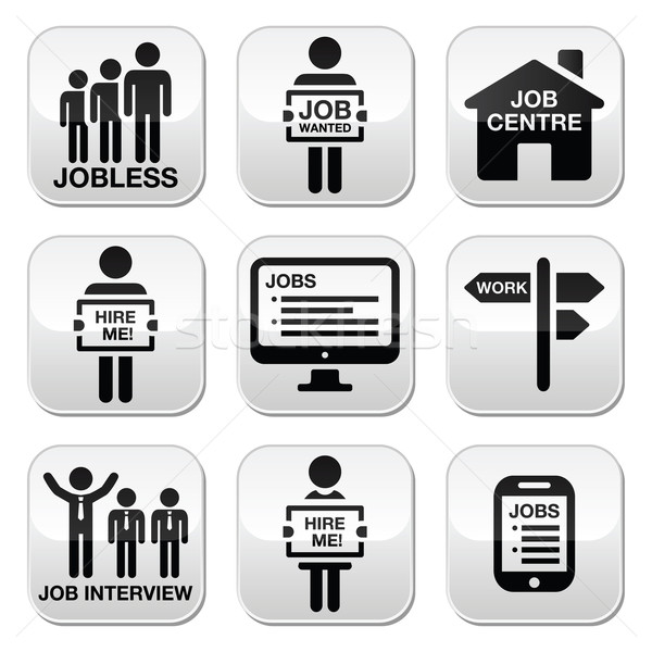 Unemployment, job searches vector buttons set  Stock photo © RedKoala