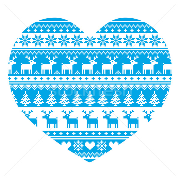 Christmas card with heart- blue Nordic, winter pattern on white Stock photo © RedKoala