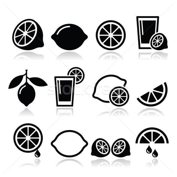 Lemon, lime icons set Stock photo © RedKoala