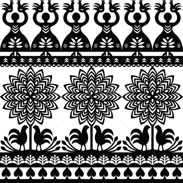 Seamless Polish folk art black pattern Wycinanki Kurpiowskie - Kurpie Papercuts Stock photo © RedKoala