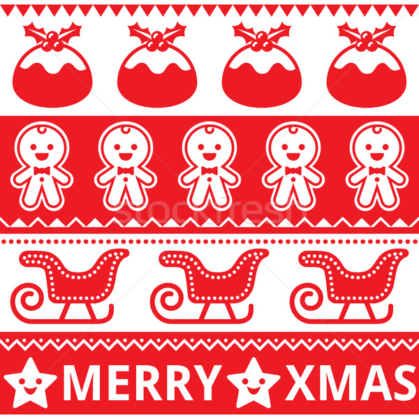 Christmas cute red seamless pattern, greetings card Stock photo © RedKoala